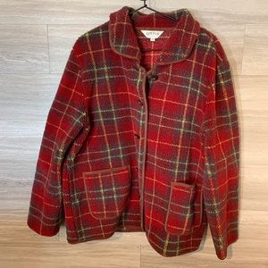 Vintage Orvis Fleece Jacket XL Plaid Sherpa Toggle